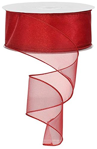 (Sheer Organza Ribbon Wired. Color-Gold. 2 1/2'' x 50 Yard (red))