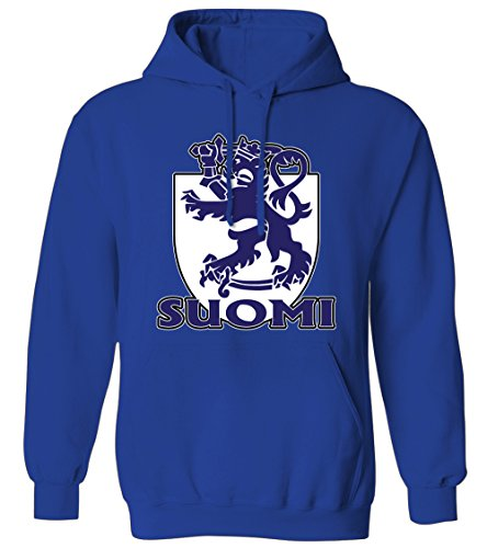 Suomi Finnish Coat Of Arms Royal Lion Shield Finland Mens Hoodie Sweatshirt (Royal, 2X-Large) (Arms Of Coat Finnish)