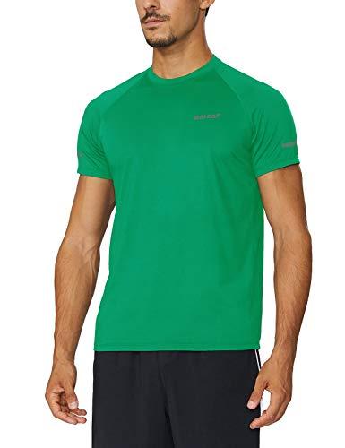 (Baleaf Men's Quick Dry Short Sleeve T-Shirt Running Fitness Shirts Forest Green Size XXXL )