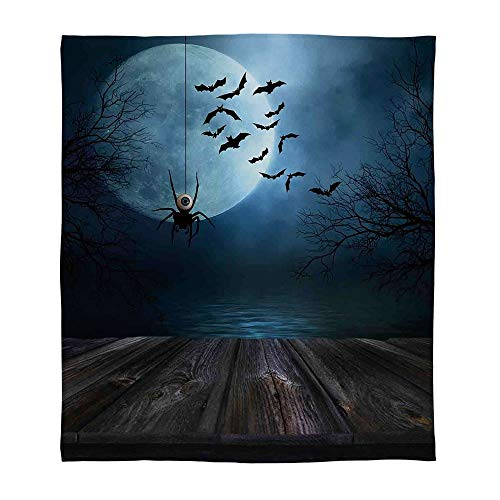 C COABALLA Warm Flannel Blanket,Halloween Decorations,for Folding Bed Crib, Stroller, Travel, Couch and Bed,Size Throw/Twin/Queen/King,Misty Lake Scene Rusty Wooden Deck -