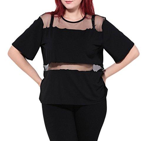 Smile YKK Women Large Size Loose Summer See Through Blouse Tees 16