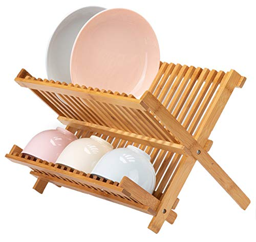 Lawei Collapsible Bamboo Dish Drying Rack - Plate Holder Dish Rack Cup Drying Strainer for Dish, Plate, Bowls, Cup (Rack Wooden Plate For Wall)
