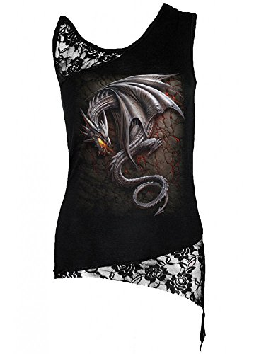 Spiral Haut asymétrique avec épaule en dentelle pour femme Motif obsidienne Noir