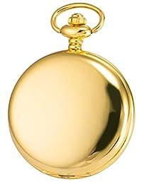 KS Steampunk Mechanical Smooth Gold Tone Case Roman Numerals Pocket Watch Black Dial KSP034