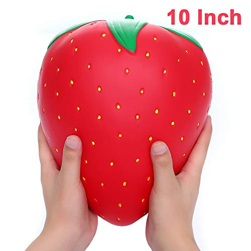 Sinofun 10 Inch Jumbo Strawberry Squishy, Scented Fruit Squishies, Slow Rising Stress Relief Toys,Birthday Gifts for Boys/Girls/Kids