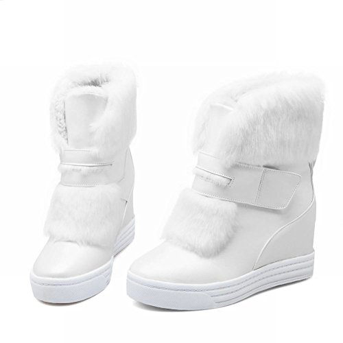 Carolbar Womens Sweet Lolita Cosplay Christmas Gift Nepbont Mode Schattige Sleehak Snowboots Wit