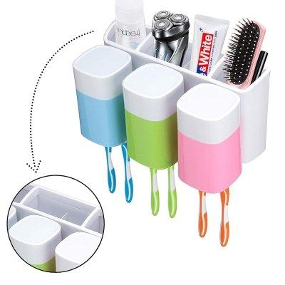 Moshi karts - Soporte para cepillos de dientes, vasos de pared, gran capacidad y caja para cepillo de dientes: Amazon.es: Hogar
