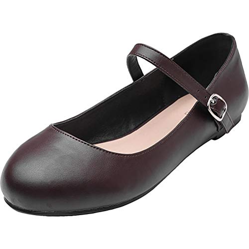 Luoika Women's Wide Width Flat Shoes - Comfortable Ankle Strap Mary Jane Ballet Flats.(180901,Dark Brown PU,7WW) - Jane Dark Mary Brown