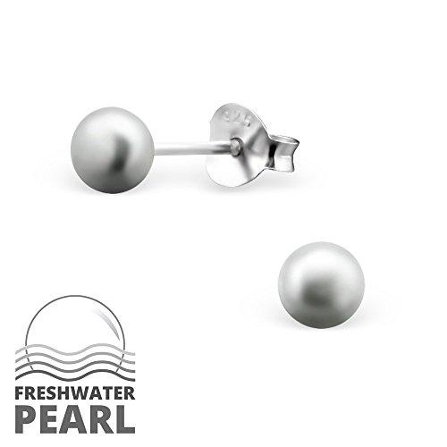925 Sterling Silver Hypoallergenic Freshwater Pearl Stud Earrings for Girls 15829 (Gray)