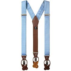 Nocona Belt Company mens Buffalo Nickel Basket Leather Suspender Suspenders