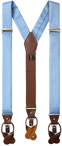 Jacob Alexander Mens Polka Dot Y-Back Suspenders Braces Convertible Leather Ends and Clips