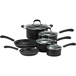 T-Fal Cookware Set Non-Stick Exterior Stainless Steel Silicone Black 10 Pc.