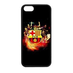 RAROFU Futsal Futbol club Messi FC Barcelona Custom Case for iPhone 5,5S TPU (Laser Technology)