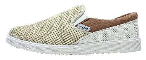 XIAXIAN Men's Summer Fashion Breathable Grenadine Casual Shoes(10 D(M) US,Beige)