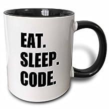 3dRose mug_180391_4 Eat Sleep Code Computer Coder Programmer Love to Program Coding Two Tone Black Mug, 11 oz, Black/White