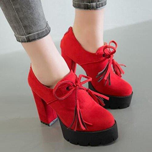 Easemax Femmes Trendy Givré Bout Rond Plate-forme Haute Chunky Talon Lacets Pompes Chaussures Rouge