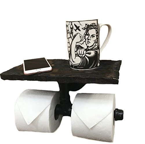 Modern Country Toilet Paper Holder - Industrial 2 Roll Toilet Paper Holder-PERSONALIZED Floating Distressed Weathered Shelf. NEVER RUN OUT OF TP AGAIN ! (Dark Walnut)