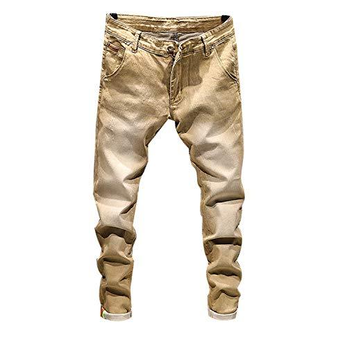 Stretch Denim Pants Solid Slim Fit Jeans Men Casual Biker Denim Jeans Male Street Hip Hop Vintage Trouser Skinny Pant,Khaki,30 ()