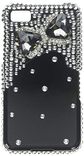 Aimo Wireless BB10PC3D-SD904 3D Premium Stylish Diamond Bling Case for BlackBerry Z10 - Retail Packaging - Black Bow Tie