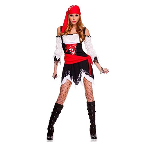 Fashion-Cos1 Halloween Sexy Women Pirate Costume Party Female Pirates Captain Cosplay Fancy Dress with Hat]()