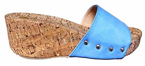 C & C Maya-3 Cork Slip Op Schuif Muilezel Platform Wedge Studs Open Peep Toe Sandaal Schoen Blauw Blauw