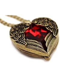 Dragonpad Retro Bronze Chain Red Heart Vintage Palace Pendant Angel Wings