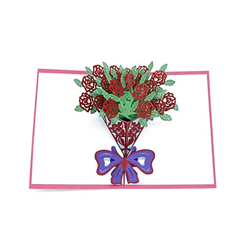 A Bouquet Of Rose Flowers 3D Pop Up Card Birthday Gift With Envelope Sticker Invitation Greeting Card Postcard,Pink