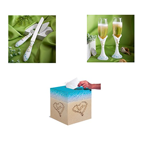 Beach Themed Wedding Bundle With 1 Beach Wedding Card Box, 1 Beach Themed Wedding Cake Knife and Server Set, and 1 Beach Wedding Champagne Flutes Set (Cake Breaker Sea)