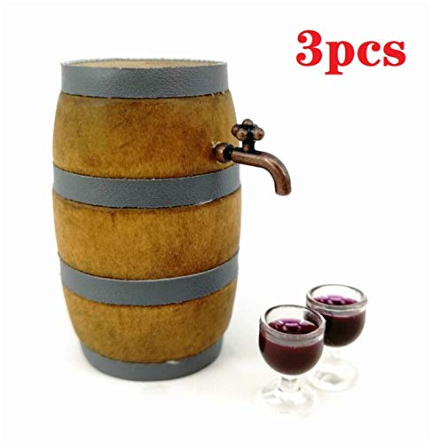 (EatingBiting(R) 1:12 Dollhouse Miniature Furniture Beer Barrel Cask Beer Keg Beer Mug 3Pcs Set (1 Beer Barrel & 2 Cup ) Photography Props, Great Doll House Ornaments)