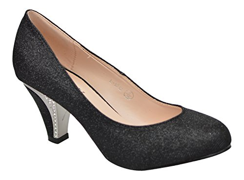 Chic Feet Ladies New Glittery Wedding Party Evening Mid Diamante Heel Courts & Bag Black nuGzv