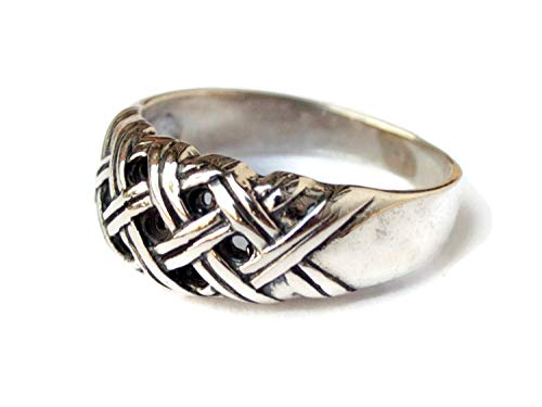 - Braided Interwoven Twist Celtic Eternity Knot Band Ring Pure Solid Sterling Silver Handmade Cutout Hollow Geometric Vintage Retro Viking Motif Norse Nordic Artistic Jewelry Gift With Meaning