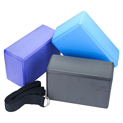 "Veda Yoga Foam Blocks (Set of 2) plus strap with Metal D Ring Standard Studio Size 9"" x 6"" x 4"""