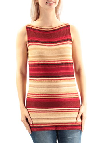 Lauren Ralph Lauren Women's Petite Striped Sleeveless Sweater Small Red Tan ()