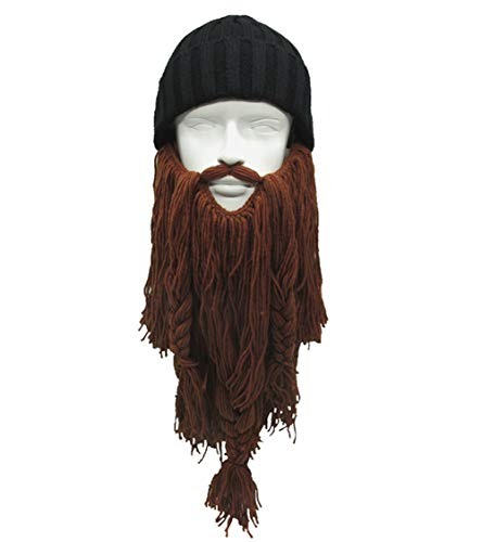 MerryJuly Men's Head Barbarian Vagabond Beanie Original Foldaway Beard Hats Viking Horns Bearded Caps (Beanie Hat &Brown -