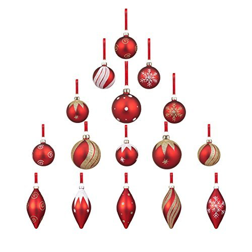 youseexmas glass christmas ornaments red pack of 16