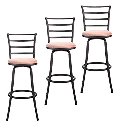 Surprising Amazon Com Cypressshop Pack 3 Black Metal Swivel Stools Alphanode Cool Chair Designs And Ideas Alphanodeonline