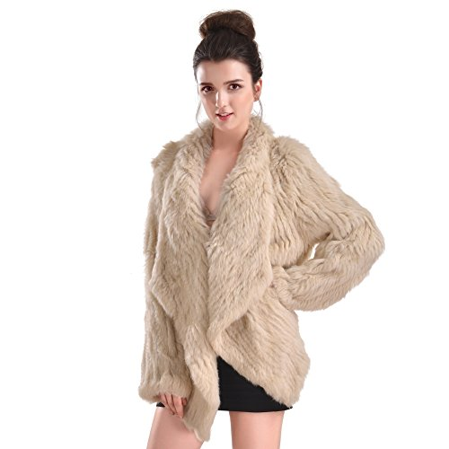 Vemolla Women's Genuine Knit Rabbit Fur Coat Jacket Outwear with Pocket by Vemolla