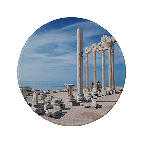 Non-Slip Rubber Round Mouse Pad,Home Decor,Ancient Greek Temple with Clouds Greece Mythical Gods Ruins Europian Heritage Decorative,Cream Blue,7.87