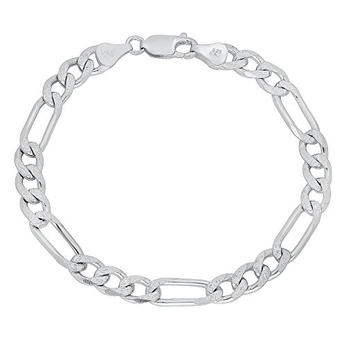 6.6mm 925 Sterling Silver Italian Crafted Diamond-Cut Figaro Chain Bracelet, 9 inches + Cleaning Cloth (Mens Diamond Bracelets Sterling)