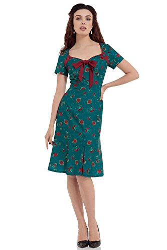 Voodoo-Vixen-Retro-40s-Style-Cherry-Floral-Blossom-Vintage-Style-Dress