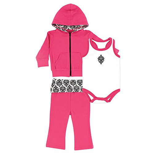 Damask Baby Girl Clothes (Yoga Sprout Baby 3 Piece Jacket, Top and Pant Set, Pink/Black Damask, 0-3 Months)
