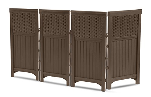 Plastic Fence Panels - Suncast 4 Panel Outdoor Screen Enclosure - Freestanding Wicker Resin Reversible Panel Outdoor Screen - Perfect for Concealing Garbage Cans, Air Conditioners - Brown - 44 Inches In Height