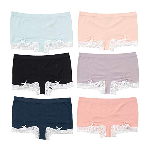 Alyce Intimates Seamless Womens Boyshort with Lace Trim and Ruching Detail, Pack of 6