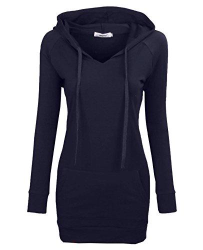Zip Hoodie Dress - BEPEI Womens Long Sleeve Tunic Sweatshirt String Hoodie with Pocket Navy M