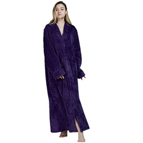 iLXHD Womens Relaxed Fit Zip-Front Fleece Robe, Zipper Waffle Fleece Soft Bathrobe Nightgown Loungewear