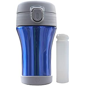 myColdCup 8oz with Freeze Stick. Keeps milk, smoothies, yogurt drinks ice-cold for lunch. Triple-walled vacuum insulated stainless steel thermos. BPA-free (Blue)