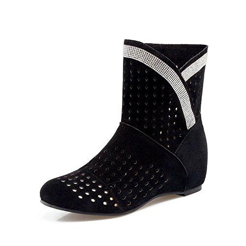 VogueZone009 Damen Gemischte Farbe Mittler Absatz Schnüren Rund Zehe Stiefel mit Schnalle, Rot, 42