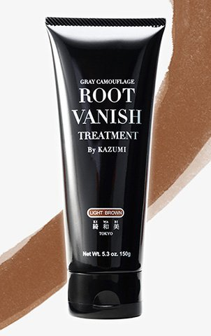 ROOT VANISH BY KAZUMI Color Treatment in Light Brown Instantly Camouflages Gray Roots and Hair with Natural Anti-Aging Botanicals.(150g) (LIGHT BROWN) by KIWABI by KIWABI by Root Vanish By Kazumi (Image #1)