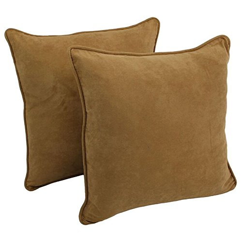 Blazing Needles Double-Corded Solid Microsuede Square Floor Pillows with Inserts (Set of 2), 25