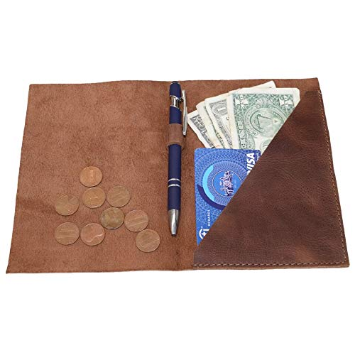 Hide & Drink, Leather Bifold Check Presenter with Pen Slot/Restaurant & Cafe Accessories/Bill Holder/Waiter/Waitress, Handmade Includes 101 Year Warranty :: Bourbon Brown